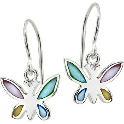 Beach Chic Multi Inlaid Shell Butterfly Earrings