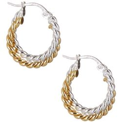 Signature Two Tone Twisted Hoop Earrings