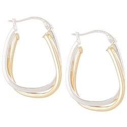 Sterling Silver Oval Click Hoop Earrings
