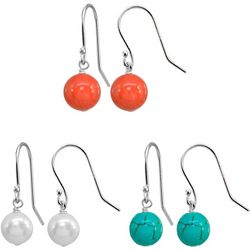 Beach Chic 3 Pr Stone & Pearl Drop Earring Set