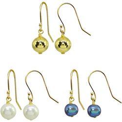 Beach Chic 3 Pr Grey Pearl & Gold Bead Drop Earrin