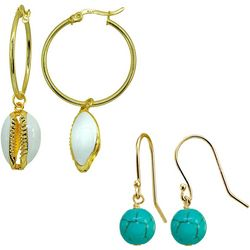 Beach Chic 2 Pr Cowrie Shell & Bead Drop Earrings