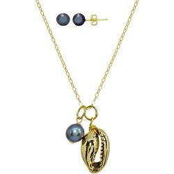 Beach Chic Cowrie Shell & Pearl Necklace Set