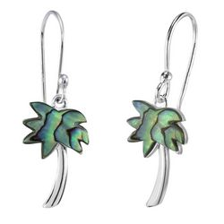 Beach Chic Abalone Shell Palm Tree Dangle Earrings
