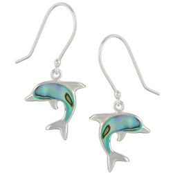 Beach Chic Boxed Abalone Dolphin Earrings