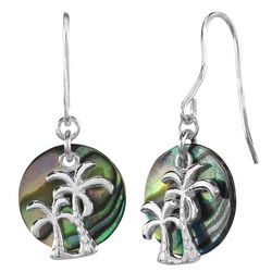 Beach Chic Double Palm Tree Abalone Earrings