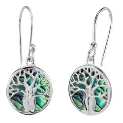 Beach Chic Abalone Tree Of Life Dangle Earrings