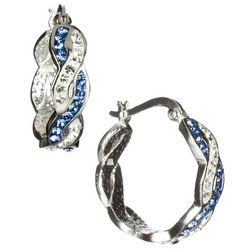 Shine Light Sapphire Blue Twisted Hoop Earrings