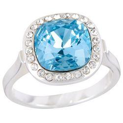 Shine Aqua Blue & Crystal Clear Elements Silver Tone Ring