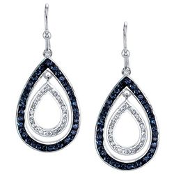 Shine Blue & Clear Crystal Elements Teardrop Earrings