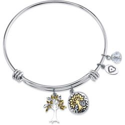 Footnotes Family Tree Charm Bangle Bracelet