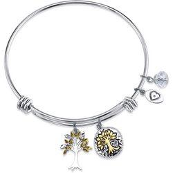 Footnotes Family Tree Charm Bangle Bracelet