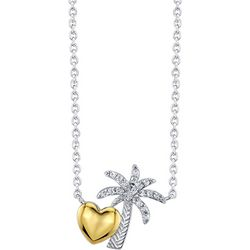 Follow Your Heart Palm Tree & Heart Pendant Necklace