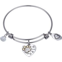 Footnotes I Love My Dog Heart Charm Bangle Bracelet