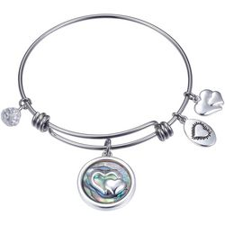 Footnotes Friends Forever Abalone Heart Bangle Bracelet