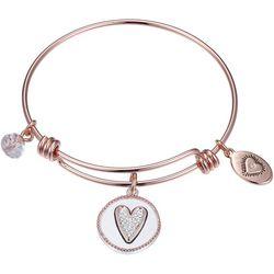 Footnotes Girlfriends Rose Gold Tone Charm Bangle Bracelet