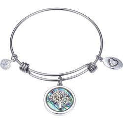 Footnotes Abalone Shell Family Tree Charm Bangle Bracelet