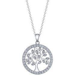 Footnotes CZ Round Family Tree Pendant Necklace
