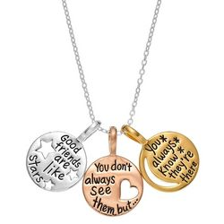 Footnotes Tri Tone Friendship Charm Pendant Necklace