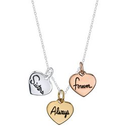 Footnotes Sisters Tri Tone Heart Pendant Necklace