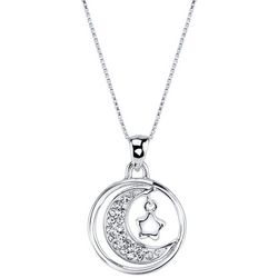 Footnotes Rhinestone Moon & Star Pendant Necklace