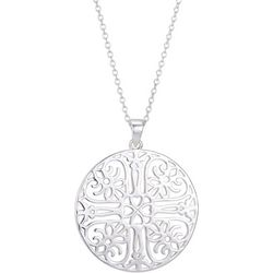 Footnotes Silver Tone Cross Disc Pendant Necklace
