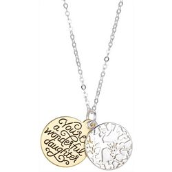 Footnotes Two Tone Daughter Charm Disc Necklace