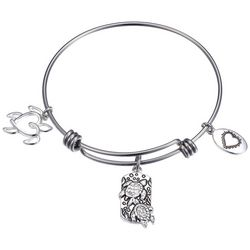 Footnotes Life's A Beach Sea Turtle Charm Bangle Bracelet