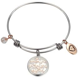 Footnotes Coastal Ocean Vibes Glass Charm Bangle Bracelet