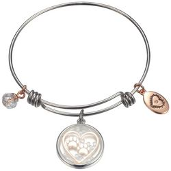 Footnotes Two Tone Love My Dog Glass Charm Bangle Bracelet