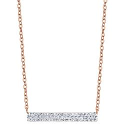 Shine Crystal Elements Pave Bar Rose Gold Tone Necklace