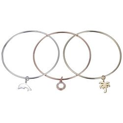 Footnotes 3-pc. Dolphin & Palm Tree Charm Bracelet Set