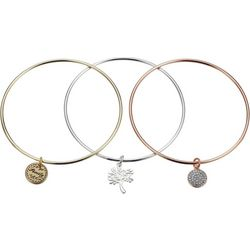 Footnotes 3-pc Tri Tone Family Tree Bangle Bracelet Set