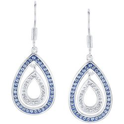 Shine Light Sapphire Blue & Clear Crystal Teardrop Earrings