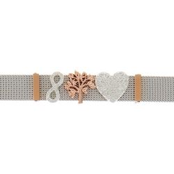 Beach Chic Family Tree & Heart Charm Mesh Bracelet