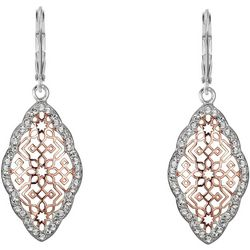Shine Two Tone Filigree & Crystal Elements Earrings