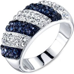 Shine Blue Montana Crystal Elements Striped Band Ring