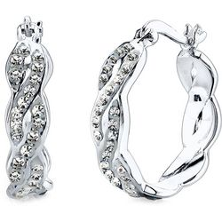 Shine Pave Crystal Elements Silver Tone Hoop Earrings