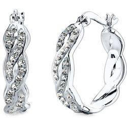 Shine Pave Crystal Elements Silver Tone Hoop Earrings