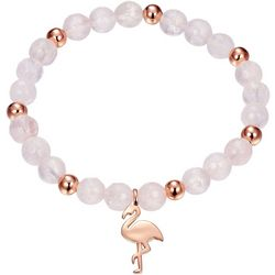 Footnotes Rose Gold Tone Flamingo Charm Stretch Bracelet