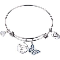 Footnotes Be Brave Butterfly Charm Bangle