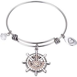 Footnotes Faith Hope Love Anchor Cross Bangle
