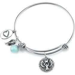 Footnotes Guardian Angel & Wing Charm Bangle Bracelet
