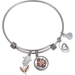 Footnotes Daughter Flower Charm Bangle Bracelet