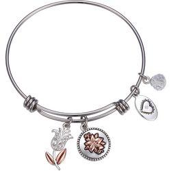 Footnotes Daughter Flower Charm Bangle Bracelet