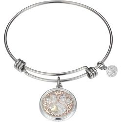 Disney Minnie Mouse Glass Charm Bangle Bracelet
