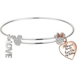 Disney Mickey & Minnie Love Charm Bangle Bracelet