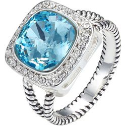Shine Crystal Elements Square Aqua Blue Stone Ring