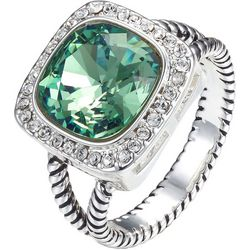 Shine Crystal Elements Square Green Stone Ring