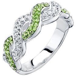Shine Peridot Green Crystal Elements Twist Ring